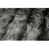 BLACK GREY CHEVRON PEACOCK Super Luxury Faux Fur Fabric Material