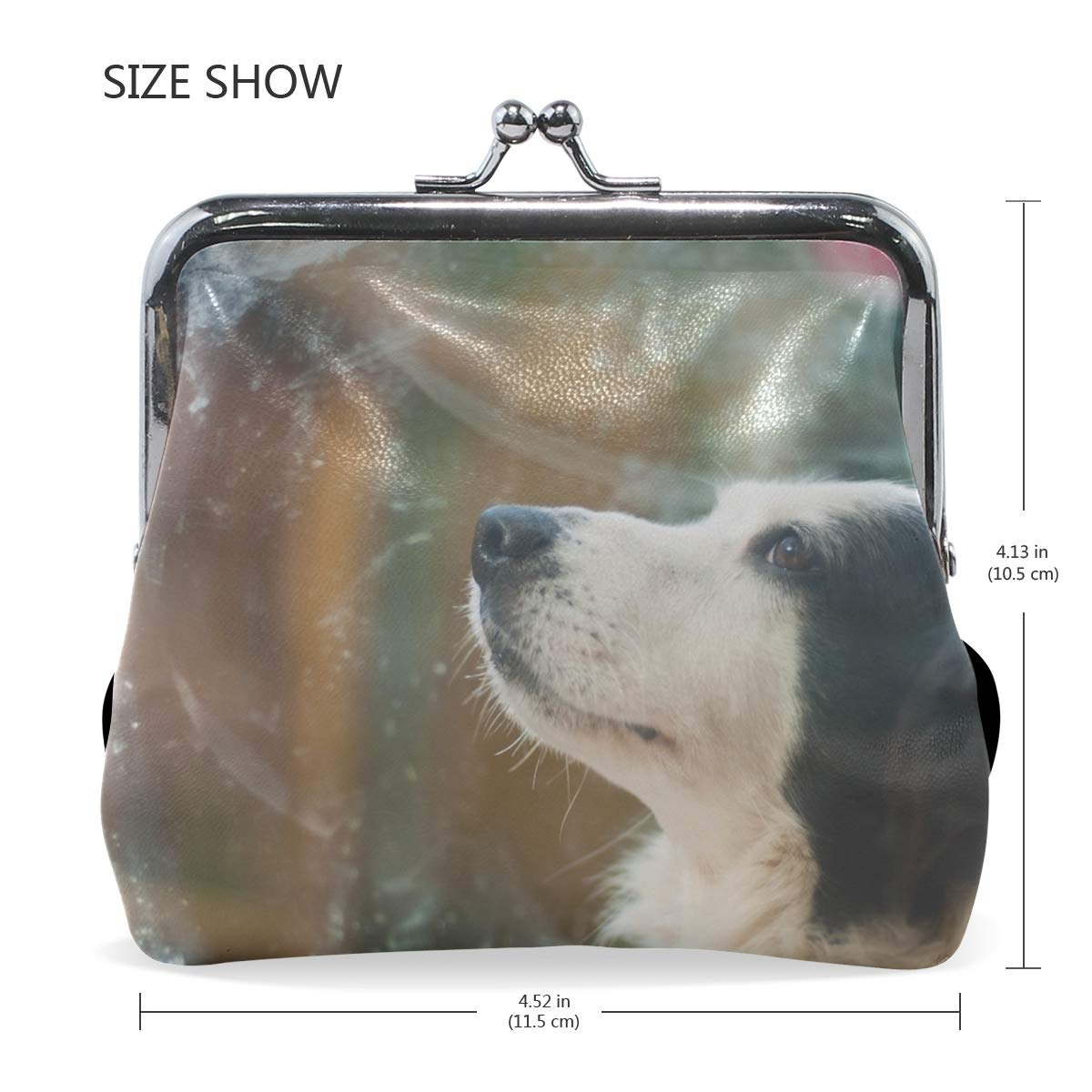 Rh Studio Coin Purse Clasp Closure Dog Face Glass Cold Profile Print Wallet Exquisite Coin Pouch Girls Women Clutch Handbag Exquisite Gift