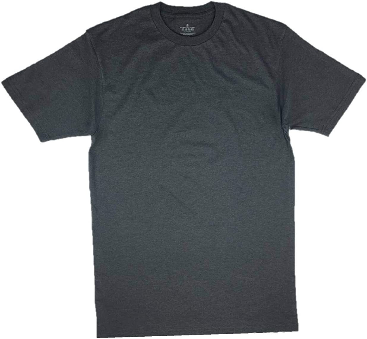 Short Sleeve Stafford Men/'s Tall//Extra Tall 100/% Heavy Weight Cotton Crew Neck Undershirts 3 Pack Black and Grey