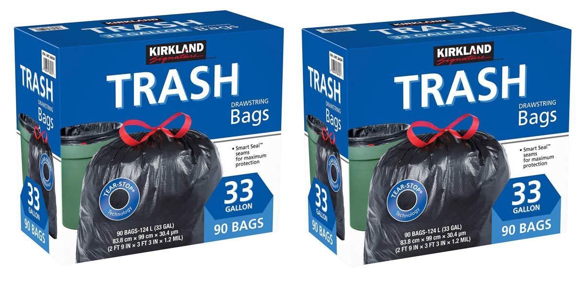 Kirkland Signature IUYEHDUH Drawstring Trash Bags - 33 Gallon - XL Size - (90 Count) 2 Pack