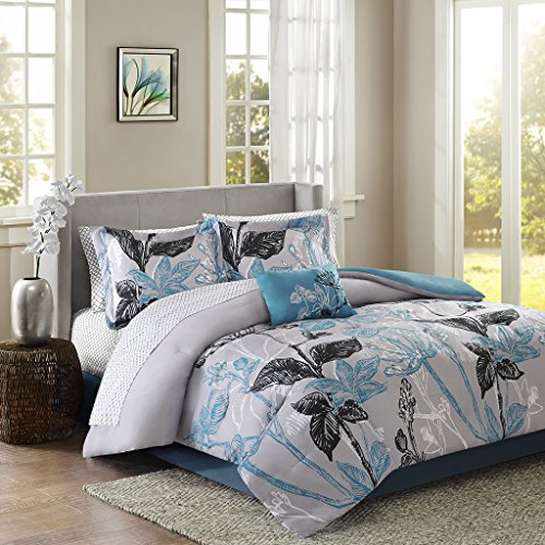 Madison Park MPE10-140 Essentials Claremont Complete Bed and Sheet Set King Aqua
