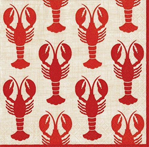 Caspari Lobsters Paper Cocktail Napkins - 20 Per Package