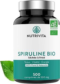 Espirulina Ecológica Pura | 500 Comprimidos de 500 mg | Rico en Proteínas, Ficocianina, Minerales y Vitaminas | Detox, Energía, Vitalidad | 100% ...