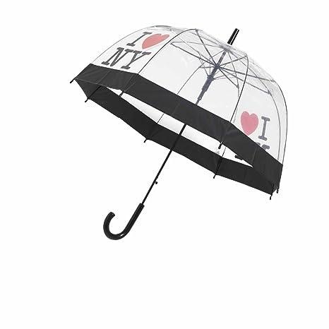 I Love Ny Tema – Clear Dome Ver A Través transparente jaula Stick paraguas con mango