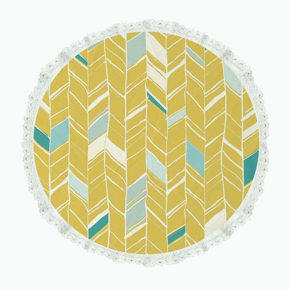 iPrint 36インチ ラウンド ポリエステル リネン テーブルクロス イエローとホワイト オールドファッション チェック柄 ブラックライン 幾何学模様 正方形 装飾 イエロー ホワイト ブラック ディナーキッチン ホームデコレーション Round 60