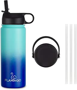 Aqua Insulated Water Bottle 530 ml Double Walled Vacuum Sports Water Bottle, Premium Food Grade, Comes with Straw lid & Sports Cap lid. 24 Hours Cold / 6 Hours Hot, Made to Last. (Aqua/Navy)