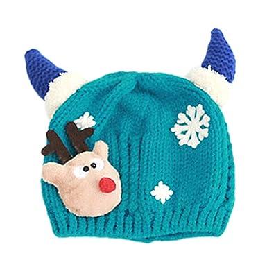 Vococal Enfant Bebe Bonnet, Chapeau Cagoule Bebe Enfant Echarpe Hiver  Automne en Laine Tricote, Bébé Noël Santa Elk Rennes Décoration Tricoté  Casquettes ... 4f072a14342