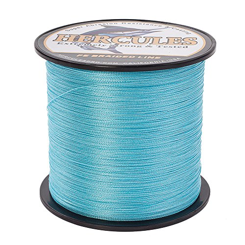 HERCULES Super Strong 1000M 1094 Yards Braided Fishing Line 30 LB Test for Saltwater Freshwater PE Braid Fish Lines 4 Strands - Blue, 30LB (13.6KG), 0.28MM