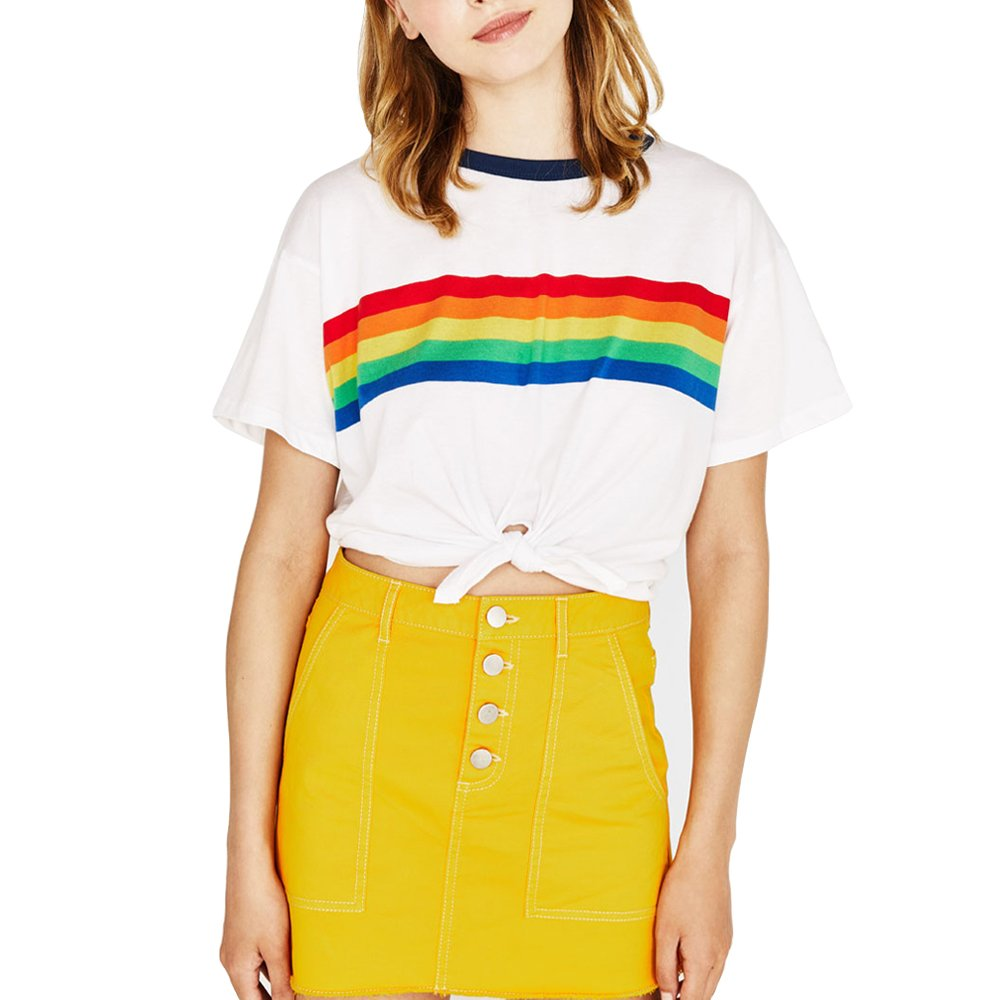 e013f071ab7e Rainbow Graphic T Shirts Women Friends White Cute Aesthetic Tumblr Tees  Crop Tops Teen Girls at Amazon Women's Clothing store: