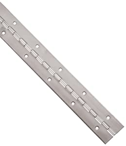"Stainless Steel 304 Continuous Hinge with Holes, Unfinished, 0.06"" Leaf Thickness, 2"" Open Width, 1/8"" Pin Diameter, 1/2"" Knuckle Length, 2' Long (Pack of 1)"