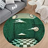Nalahome Modern Flannel Microfiber Non-Slip Machine Washable Round Area Rug-ale Illustration Walls of Grass and Clocks Wonderland Theme Print Forest Green Sage Green area rugs Home Decor-Round 79''