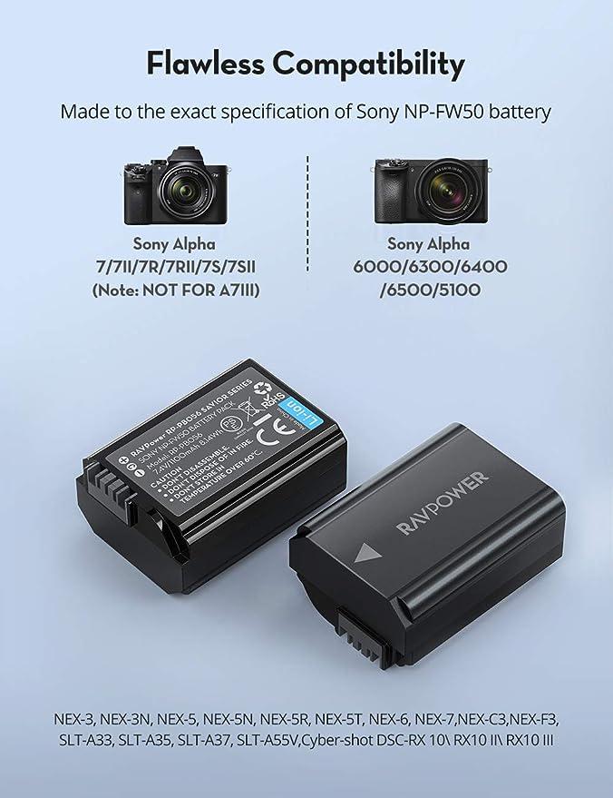 RAVPower NP-FW50 - Batería y cargador para cámara negro: Amazon.es: Electrónica