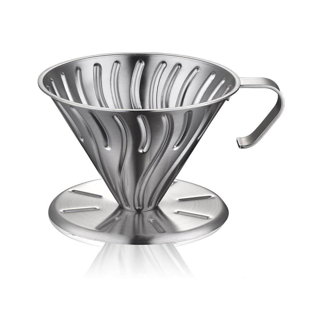 Minos Clever Coffee Dripper Brewer - Pour Over Cone, Wear and Scratch-Resistant Stainless Steel with Permanent Drip Cone Filter: Makes 1-4 Excellent Cups