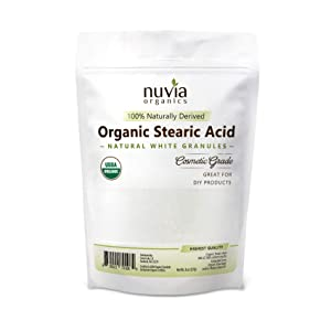 Nuvia Organics Stearic Acid - USDA Certified Organic, Food Grade, Cosmetic Grade, 100% Plant Derived, Granular Form; 8 oz