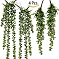 Supla 4 Pcs 2 Size Artificial String of Pearl Hanging Spray in Green Artificial Succulent Plants Hanging Bean Leaf Picks hanging string of pearls plant fake succulent String of Pearls