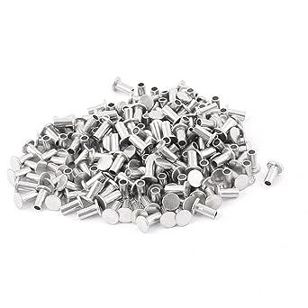 200 Pcs M3 x 6mm Aluminum Flat Head Semi-Tubular Rivets Silver Tone