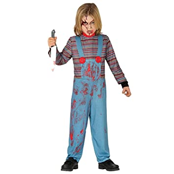 Child Killer Doll Chucky Style Halloween Fancy Dress Costume 5 6yrs