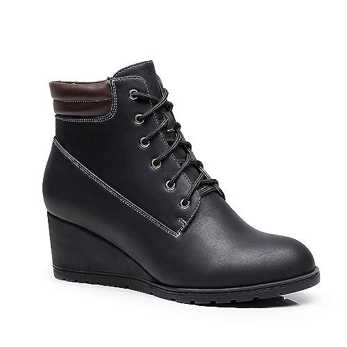 Botines De Tacón Alto De Cuña De Mujer,Botas De Plataforma con Cremallera,Botas para Mujeres TM2-BLACK-41: Amazon.es: Zapatos y complementos