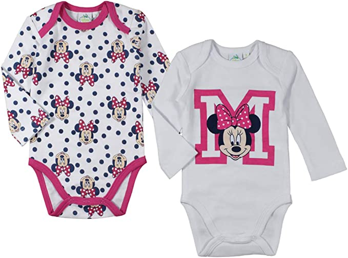 Disney DISMF5101828 Baby Girls One Piece Bodysuit 2 Pack