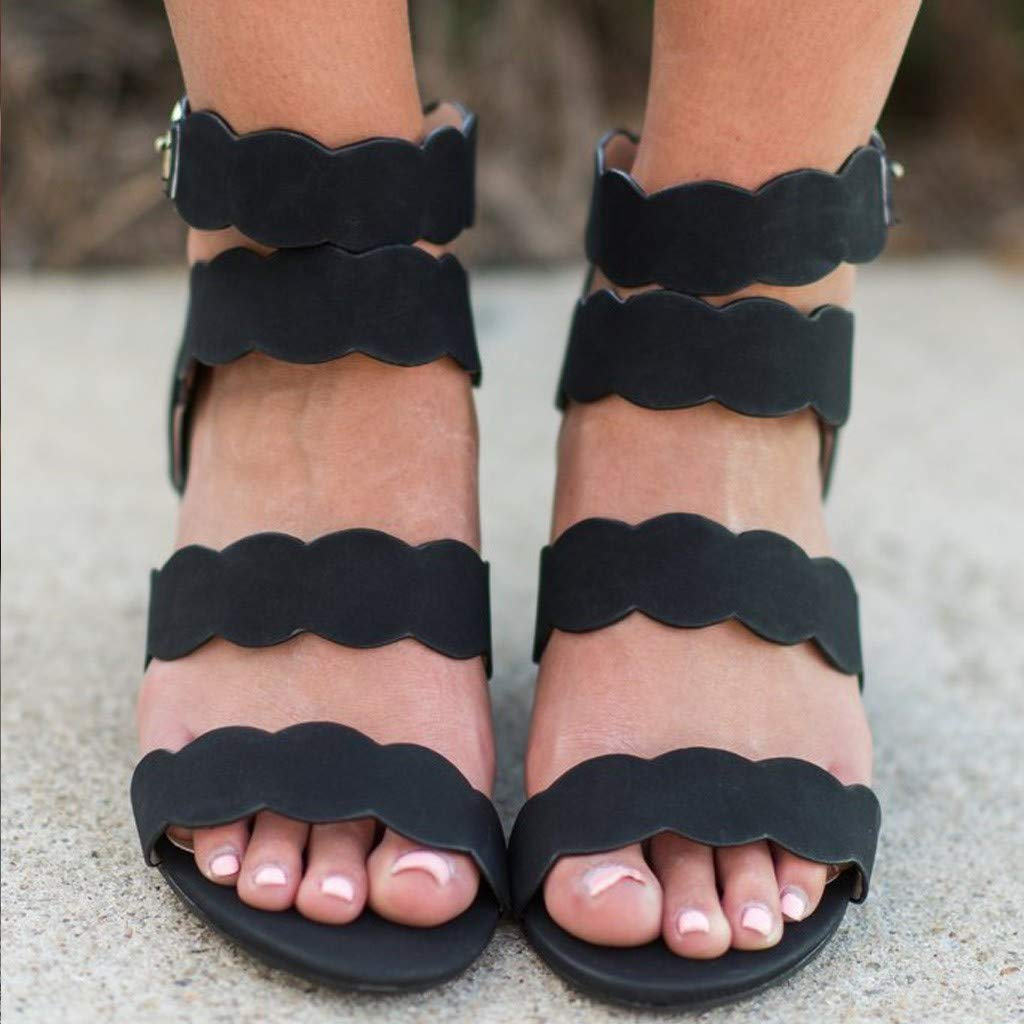 Thenxin Women Hollow Bohemian Lace Wedges Sandals with Open Toe Buckle Ankle Casual Shoes (Black,5.5 US) by Thenxin (Image #4)