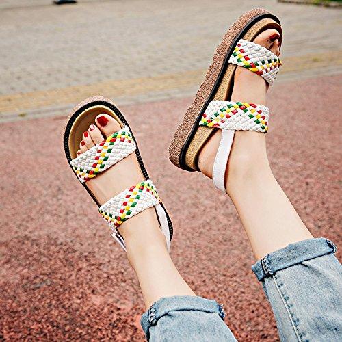 RUGAI-UE Las mujeres viento de verano sandalias Retro zapatos de suela gruesa White