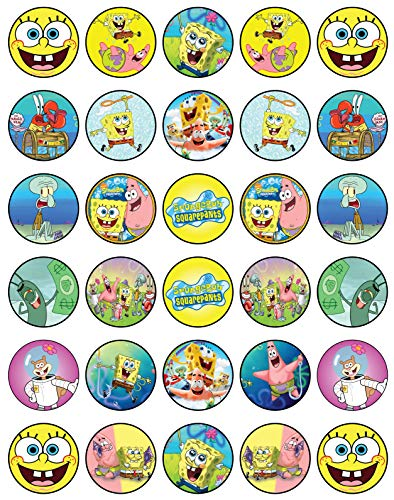 30 x Edible Cupcake Toppers - SpongeBob Party Collection of Edible Cake Decorations | Uncut Edible Prints on Wafer Sheet]()