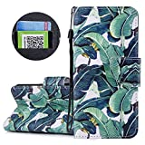 Gostyle iPhone 6 Flip Wallet Case,iPhone 6S Leather Case with Credit Card Holder Slots,Fashion Colorful Pattern with Kickstand Magnetic Closure Shockproof Cover,Green Leaves