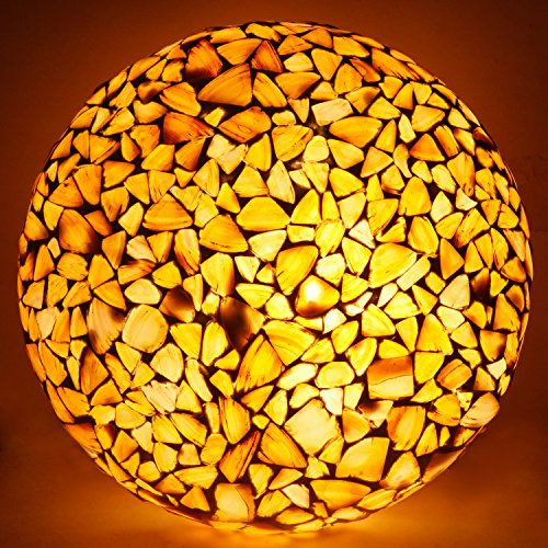 earthenmetal Glass Mosaic LED Round Ceiling Lamp, Almond, 10inches Dia, 50W