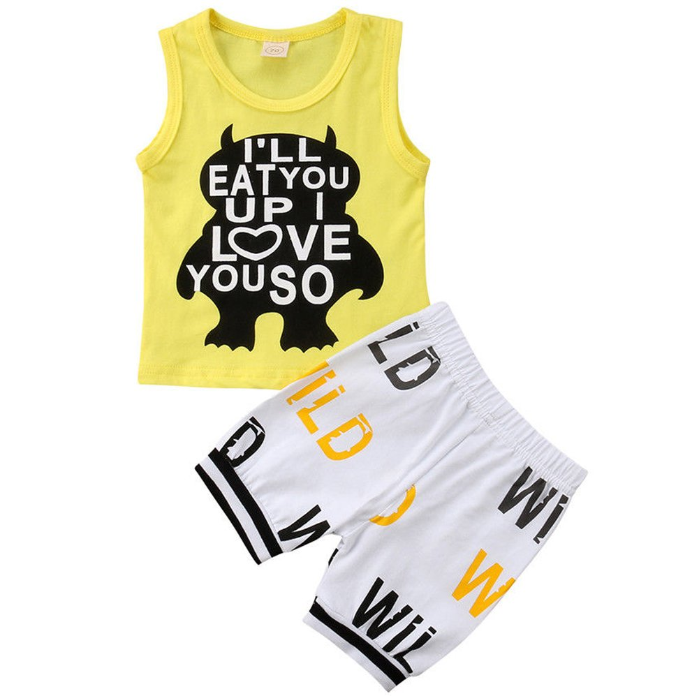 Kids Toddler Baby Boys Girls No ONE Likes A Shady Beach Glasses Shirt and Palm Shorts Set (80 (12-18M), Yellow)
