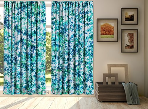 Indian Shibori Mandala Hand Tie Dye Door Curtains, Living Room Window Curtain, Drape Portiere, Shibori Wapes Curtain, Decor 2 Valances Dividers Throw …