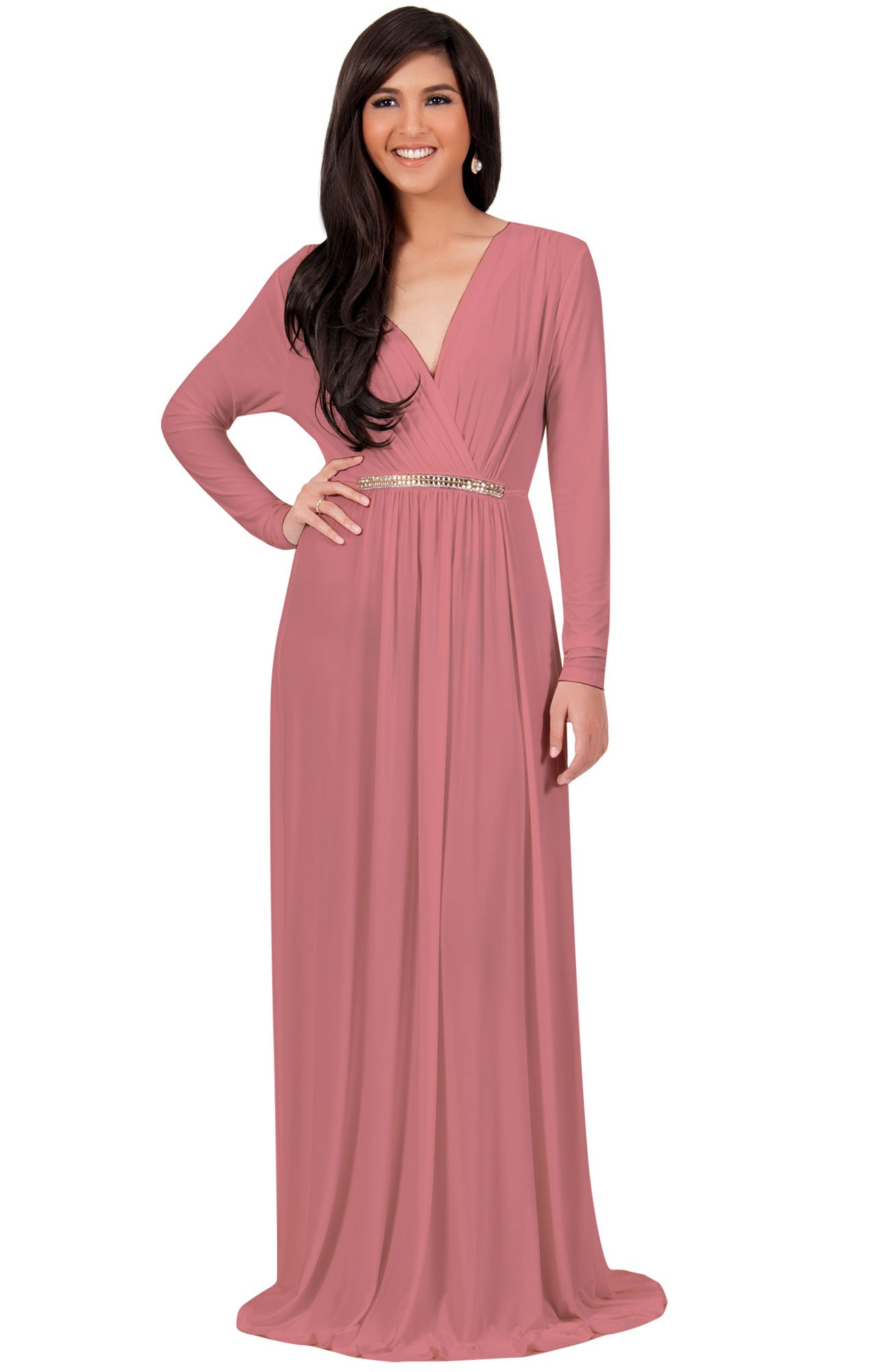 c35bef23b59 KOH KOH Womens Long Sleeve Sleeves Kaftan V-Neck Flowy Formal Wedding Guest  Fall Winter Evening Day Empire Waist Abaya Muslim Gown Gowns Maxi Dress  Dresses