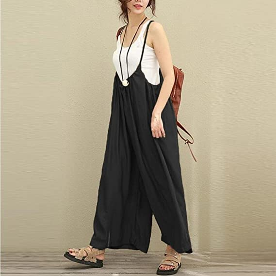 976350aea7a Amazon.com  RAISINGTOP Women Wide Leg Flowy Pants Dungarees Casual  Jumpsuits Outfits Long Trousers Rompers Overalls Loose Adult  Clothing