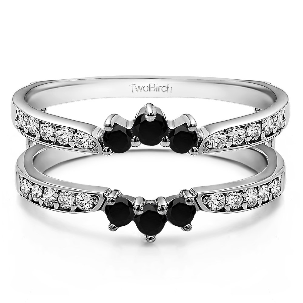 0.56 ct. Black And White Diamonds (G-H,I2-I3) Crown Inspired Half Halo Wedding Ring Guard Enhancer in Sterling Silver (1/2 ct. twt.) (Size 3 to 15 in 1/4 Size Intervals)