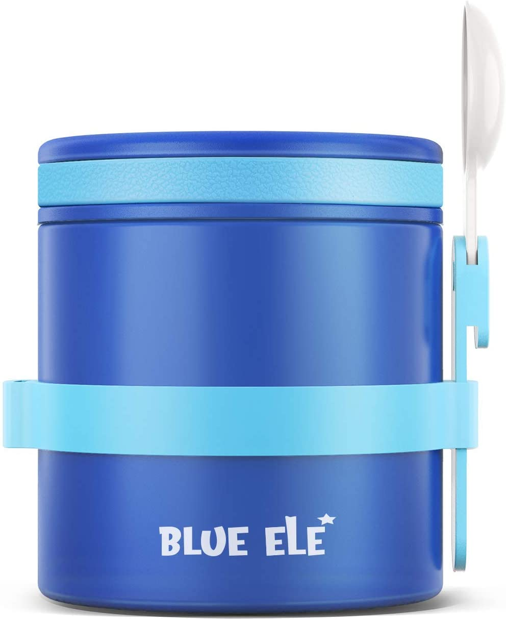 Blue Ele Leakproof, Vacuum Insulated Thermos Hot Lunch Containers with Ceramic-Coated Stainless Steel, Easy Grip Lid, and Folding Spoon (13.5oz)
