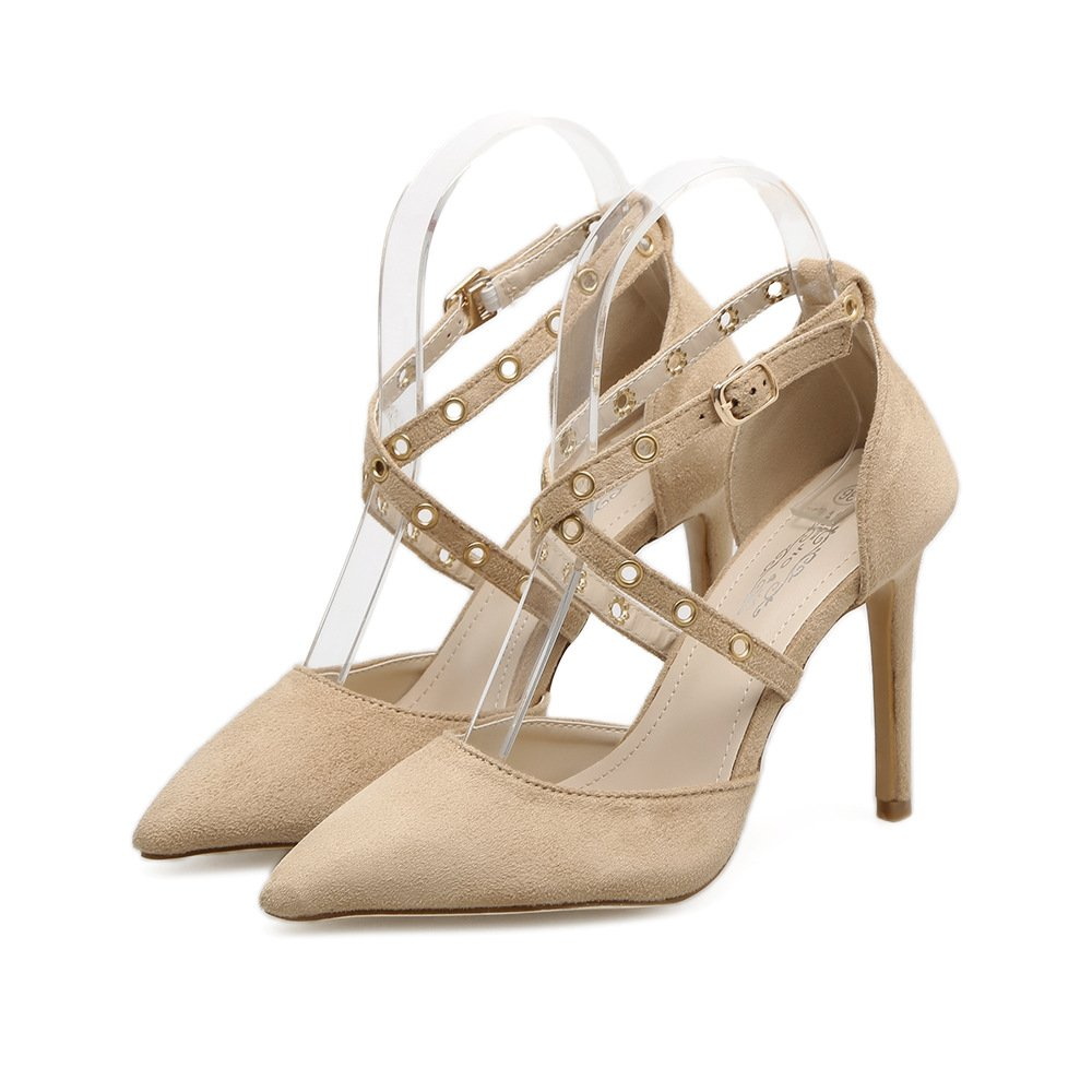 European and American women shoes fine with ultra-high to show off the tether strap, beige 37