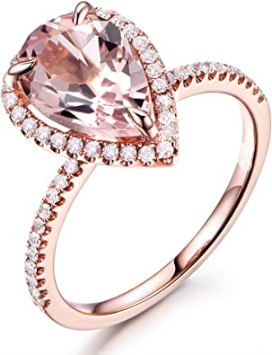 Beautiful Pear Shaped Pink Sapphire /& White CZ 14k Yellow Gold Plated Halo Style Wedding Engagement Ring For Women