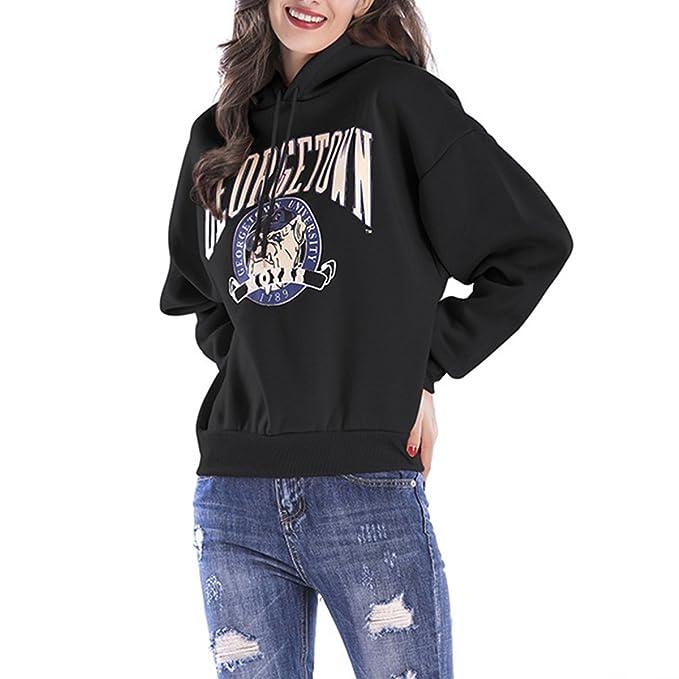 QHDZ Moda Sudaderas con capucha divertidas de la impresión de la historieta Sudaderas con capucha de la manga larga de las mujeres más grandes del tamaño: ...