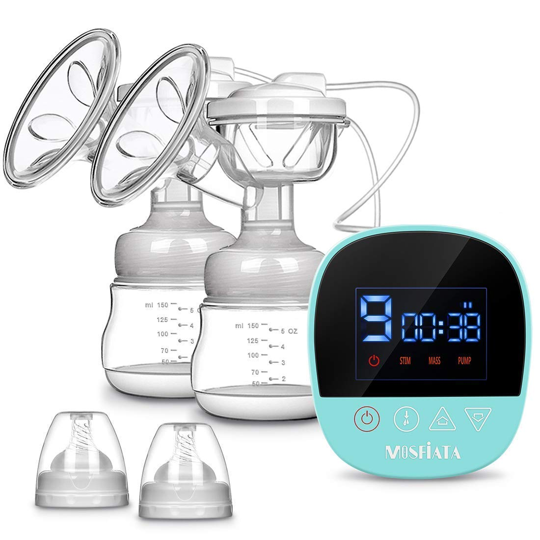 Electric Breast Pump, MOSFiATA Dual Suction Rechargeable Nursing Breastfeeding Pump with Touch Screen LED Display, 3 Modes (9 Levels Each Mode), BPA Free