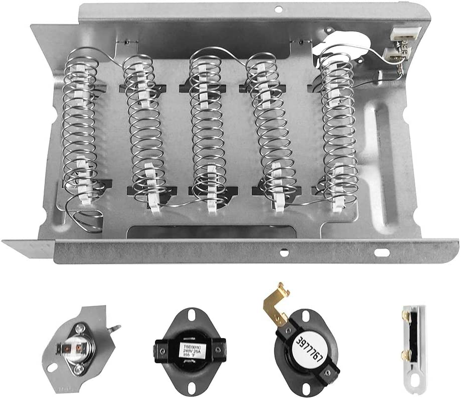 QWORK 279838 Dryer Heating Element 3392519 3977393 Thermal Fuse & 3387134 3977767 Dryer Thermostat for Whirlpool Roper Kenmore Dryer Replaces 8565582, AP3094254