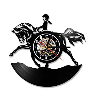 Cyalla CD Reloj De Pared Diseño Moderno Caballo Tema Relojes Clásicos Vinilo Clásico Reloj De Pared