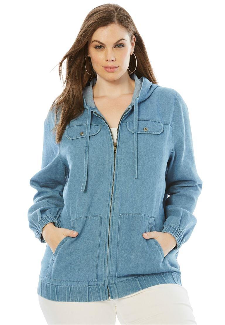 Roamans Women's Plus Size Denim Zip-Up Hoodie