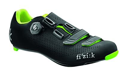 Fizik R4 UOMO BOA Road Cycling Shoes, Black/Fluorescent Yellow, Size 40.5 Black