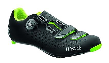 Fizik R4 UOMO BOA Road Cycling Shoes, Black/Fluorescent Yellow, Size 40.5 Black