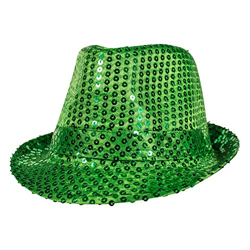 Green Sequin Fedora Hat (Marching Band Halloween Costume)
