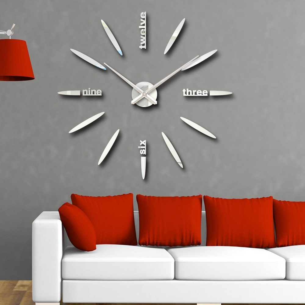 Amazon vipecho modern 3d frameless large wall clock style amazon vipecho modern 3d frameless large wall clock style watches wall sticker diy room home decorations big timer 11 silver home kitchen amipublicfo Gallery