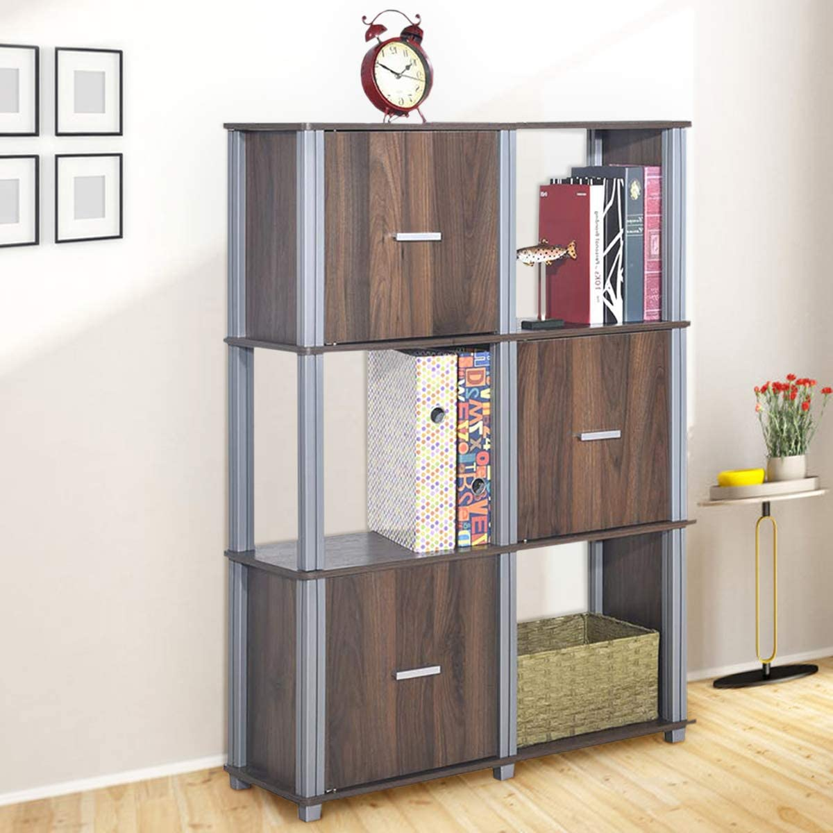 Tangkula Storage Shelf 3-Tier Utility Shelf Multifunctional Storage Cabinet Organizer Rack Display Stand Bookcase Bookshelf Walnut
