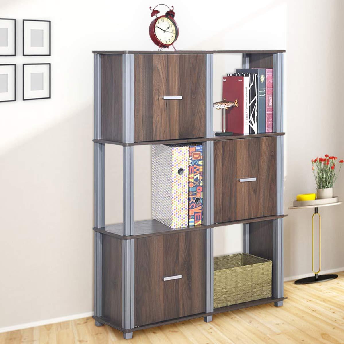 Tangkula Storage Shelf 3-Tier Utility Shelf Multifunctional Storage Cabinet Organizer Rack Display Stand Bookcase Bookshelf Walnut
