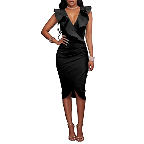 YMING Womens Sexy Bodycon Dress Ruffle Deep V Neck Party Dress Clubwear Midi Dress