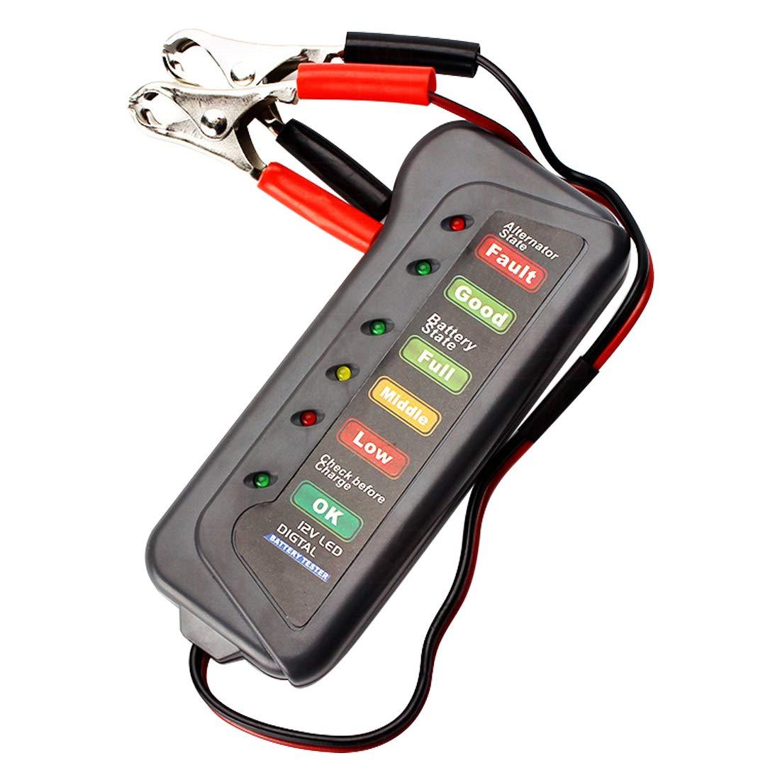 Noyokere 12V LED Bater/ía Digital probador del alternador Probador de la bater/ía Monitor de Nivel de bater/ía para Camiones de Motocicleta de autom/óvil