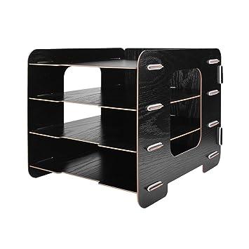 4 bandejas bandeja Rack, offkits madera escritorio Documento Organizador Archivo Holder estante de compartimiento de almacenamiento de madera fácil de ...